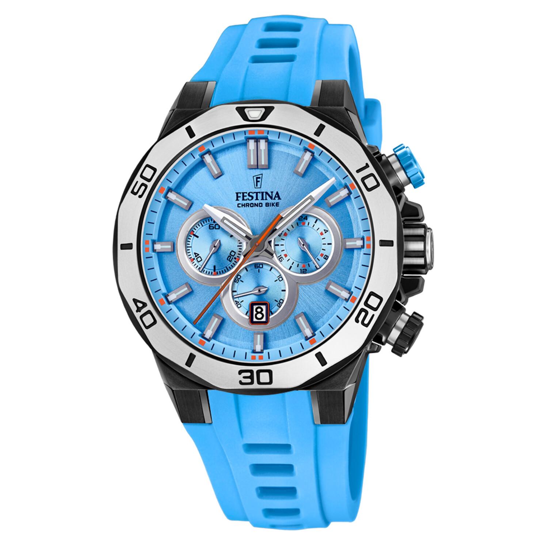 Festina Mens Chrono Bike F20450-6F61 Blue Leather Quartz Sport Watch