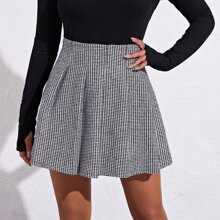 Zip Side Houndstooth Pleated Skirt