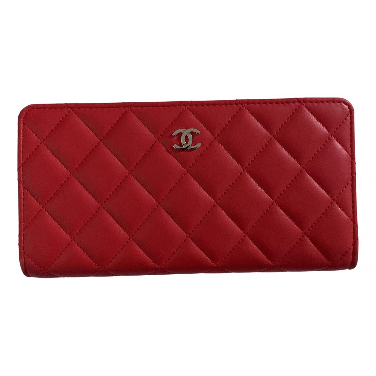 Chanel - Portefeuille Timeless/Classique pour femme en cuir - rouge