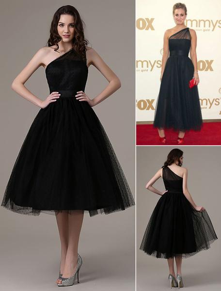 Milanoo Vestidos de fiesta negros 2020 Vestido de coctel corto Laley Cuoco Emmys Lunares Un hombro Hasta el tobillo Vestido de fiesta de tul