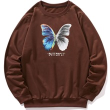 Men Butterfly And Letter Graphic Sweatshirt