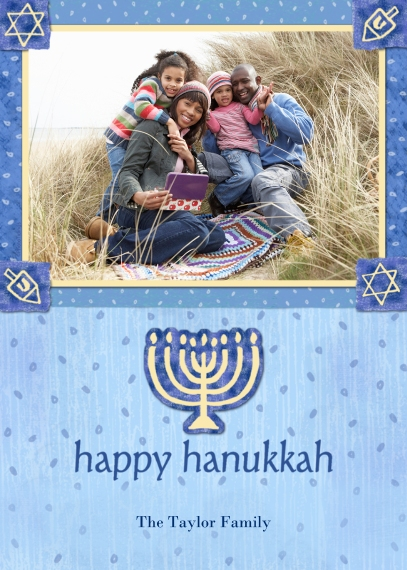 Hanukkah Photo Cards Flat Matte Photo Paper Cards with Envelopes, 5x7, Card & Stationery -Blue & Gold Menorah
