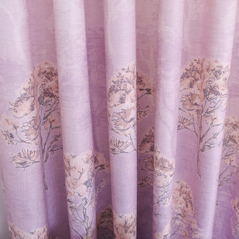 Light Pink Color Floral on Linen Natural Style Curtain for Bedroom