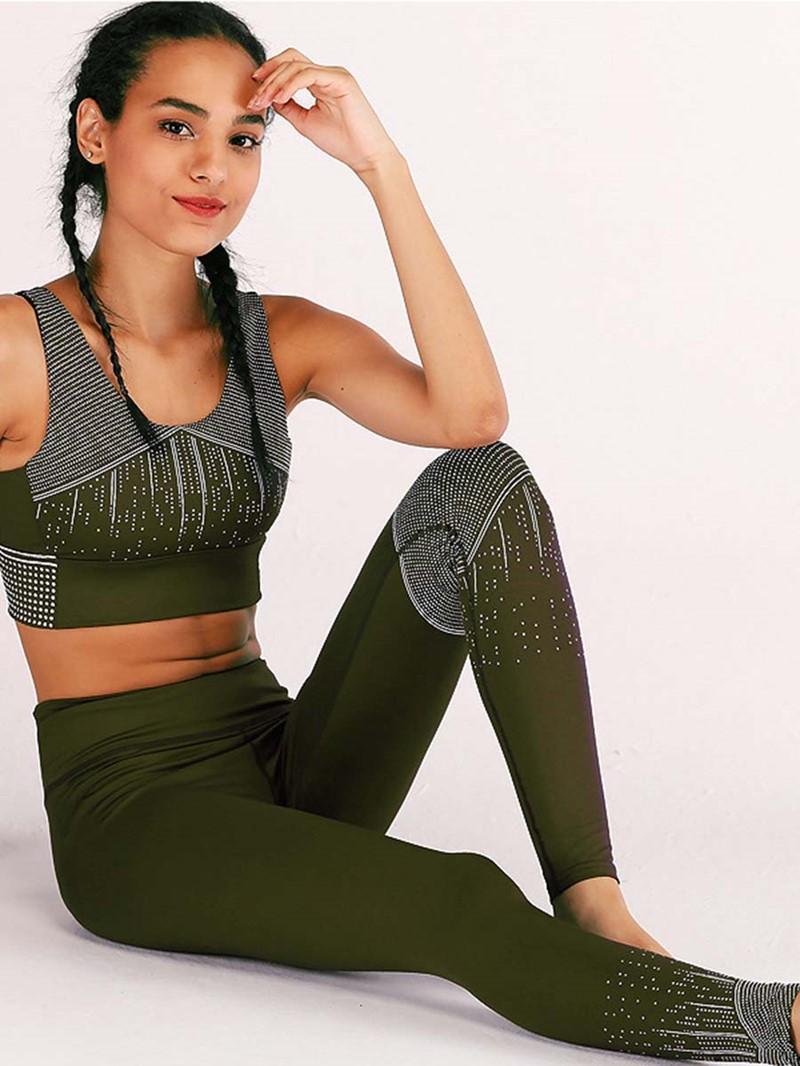 Ericdress Patchwork Color Block Anti-Sweat Sleeveless Sports Sets