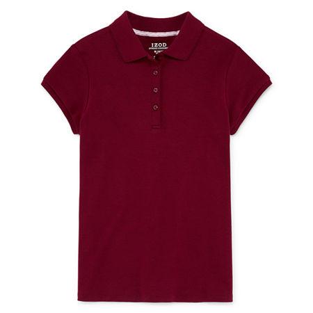 IZOD Little & Big Girls Short Sleeve Stretch Polo Shirt, 14.5/16.5 Plus , Red