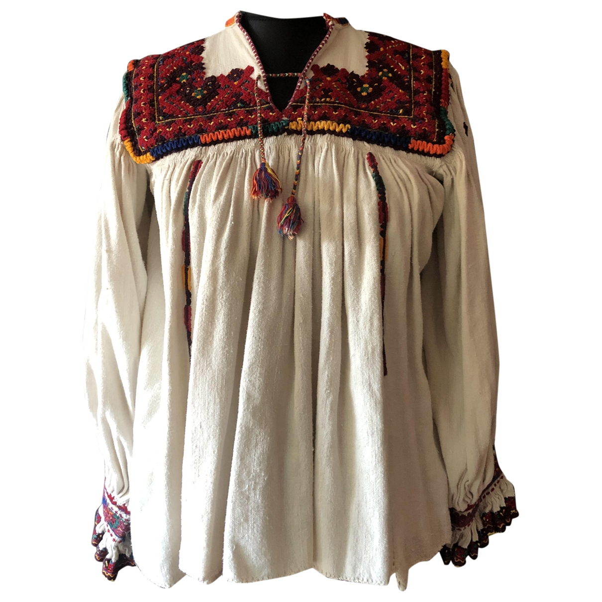 Non Signé / Unsigned Hippie Chic Linen  top for Women XS International