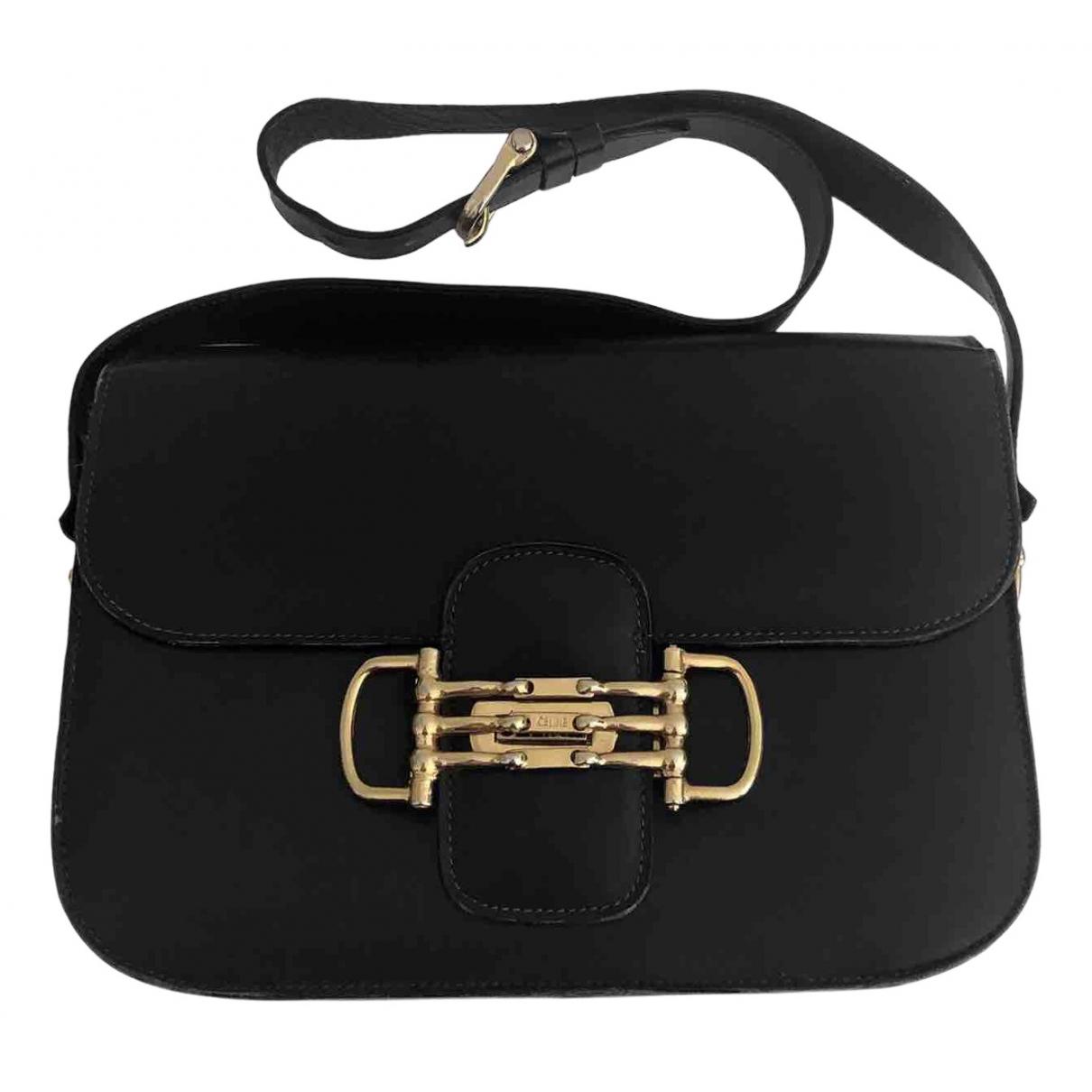 Celine Triomphe Handtasche in  Schwarz Leder