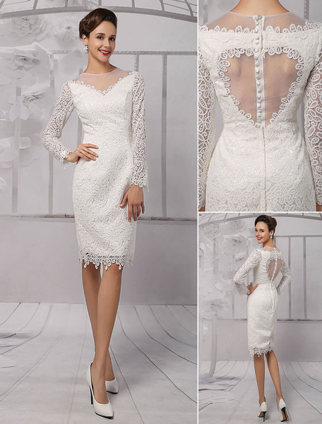 Milanoo Simple Wedding Dresses 2020 Short Long Sleeve Illusion Neckline koyhole Knee length Sheath Bridal Dress