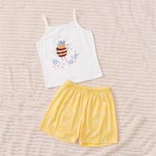 Conjunto de pijama de niñitas con estampado de letra y dibujos animados