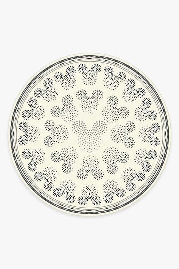 Washable Rug Cover & Pad   Mickey Ombre Black & White Rug   Stain-Resistant   Ruggable   8' Round