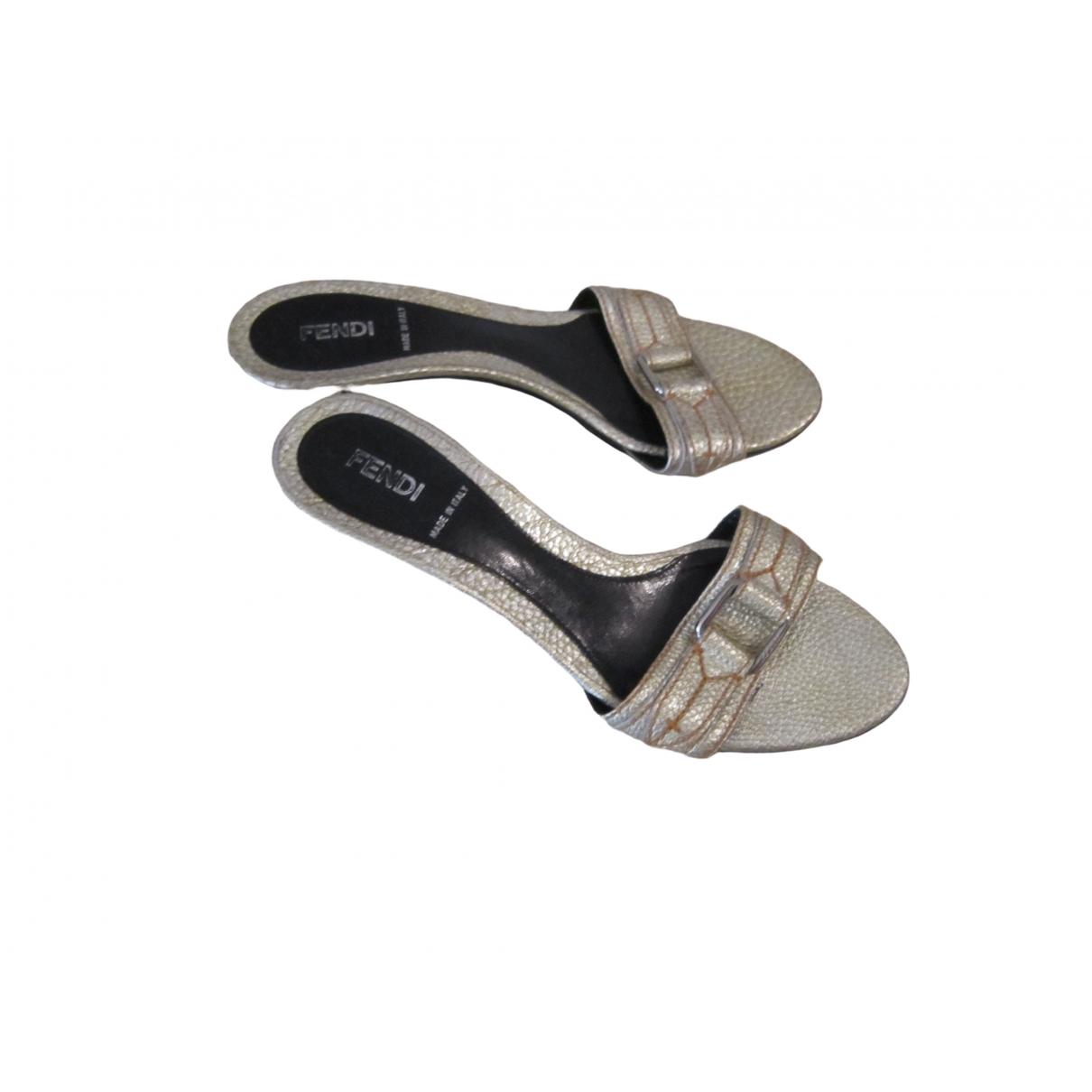 Fendi \N Silver Leather Sandals for Women 37 IT