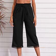 Capri Hose mit Papiertasche um die Taille, Wimpern Spitzenbesatz und breitem Beinschnitt