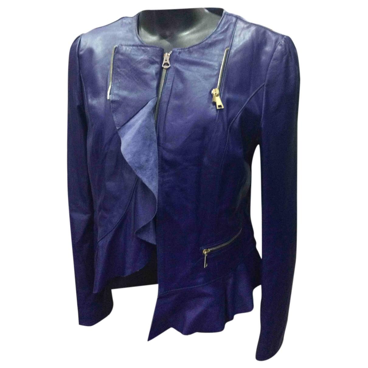 Autre Marque - Blouson   pour femme en cuir - bleu