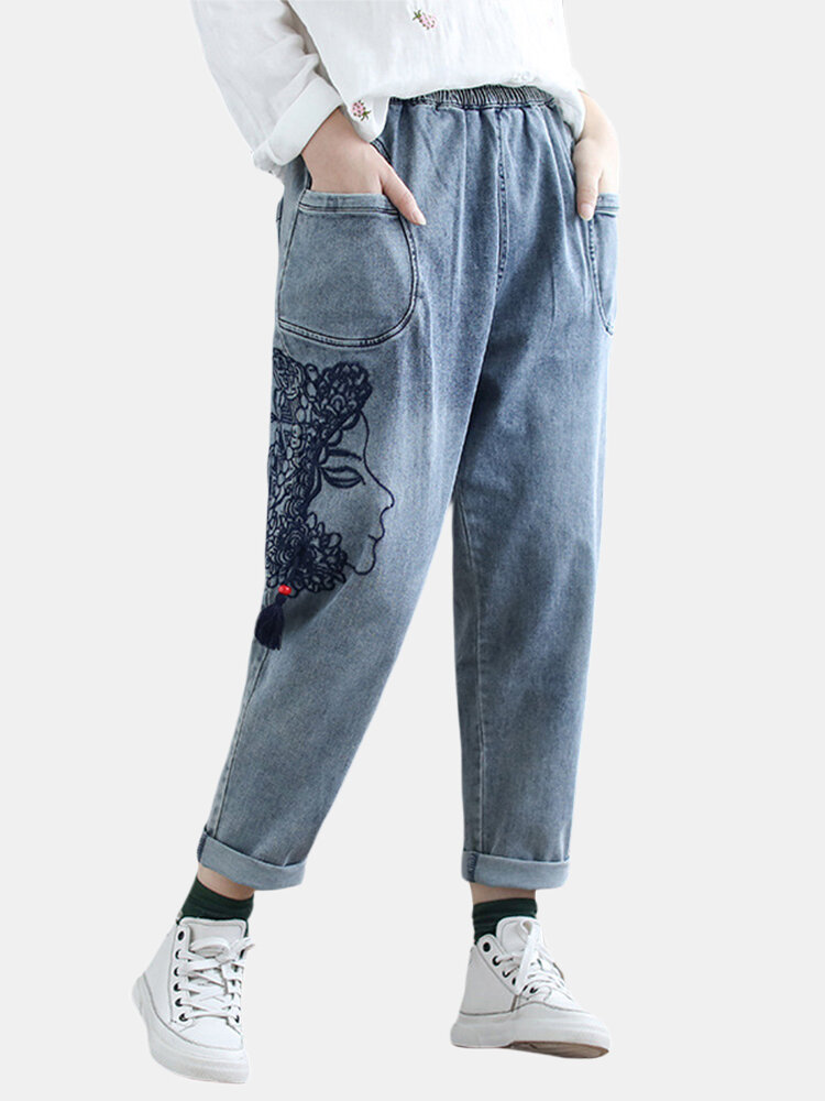 Casual Side Embroidery Elastic Waist Harem Denim