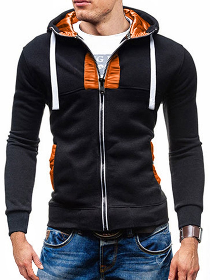 Ericdress Hooded Slim Zipper Men's Hoodie