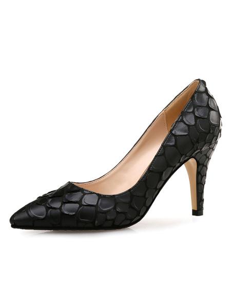 Milanoo Woman\'s High Heels Pink Slip-On Pointed Toe Stiletto Heel Retro Low-Tops