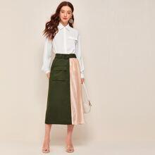 Lantern Sleeve Flap Detail Blouse & Buckle Belted Spliced Skirt Set