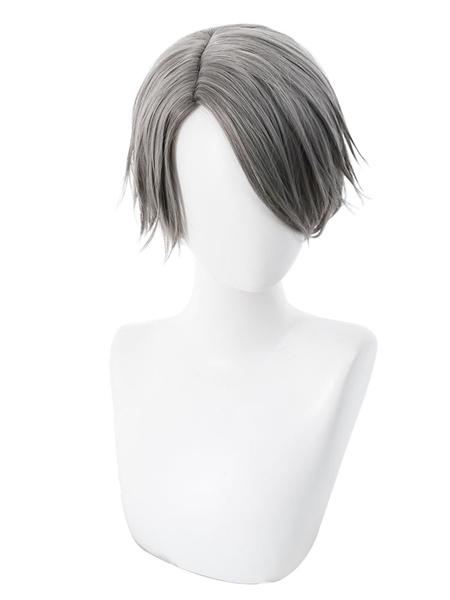 Milanoo Anime Boy Halloween Cosplay Wig Short Grey Wig