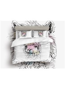400 Thread Count Breathable Adorable Alpacas Printed 4-Piece Zipper Bedding Sets Duvet Cover Set with Zipper Ties