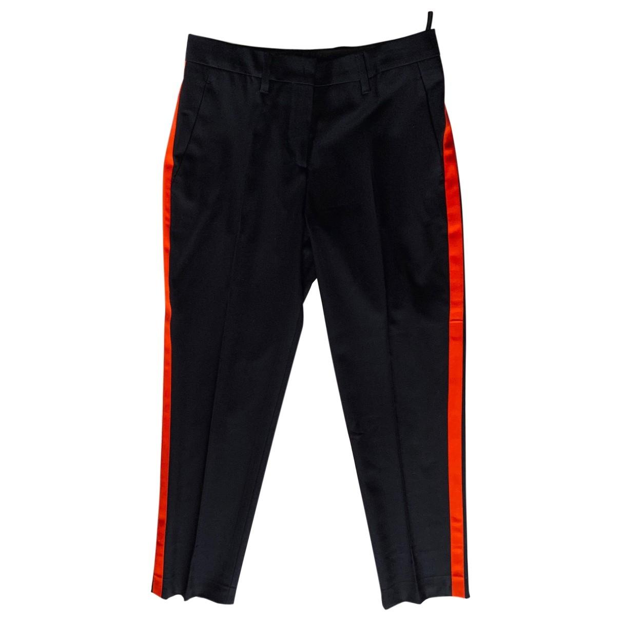 Miu Miu \N Navy Wool Trousers for Women 38 IT