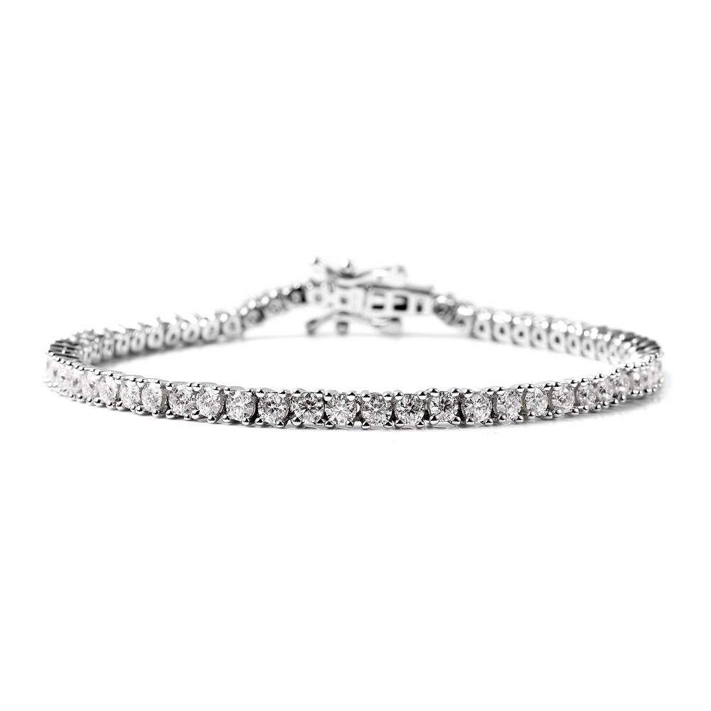 925 Sterling Silver Moissanite Bracelet Size 8 Inch Ct 4.8 (White)