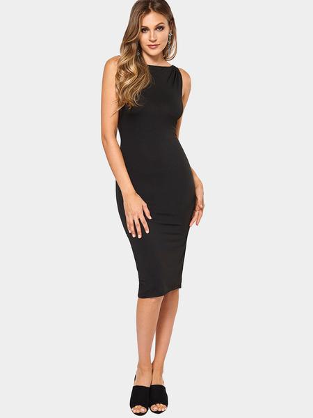 Yoins Black Fashion Round Neck Zip Front Bodycon Cami Dress