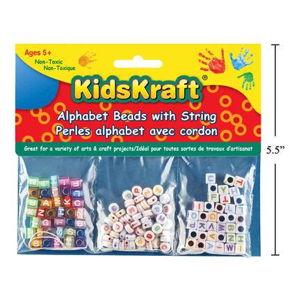 Perles alphabet carré en plastique avec chaîne, multi-tailles - KidsKraft