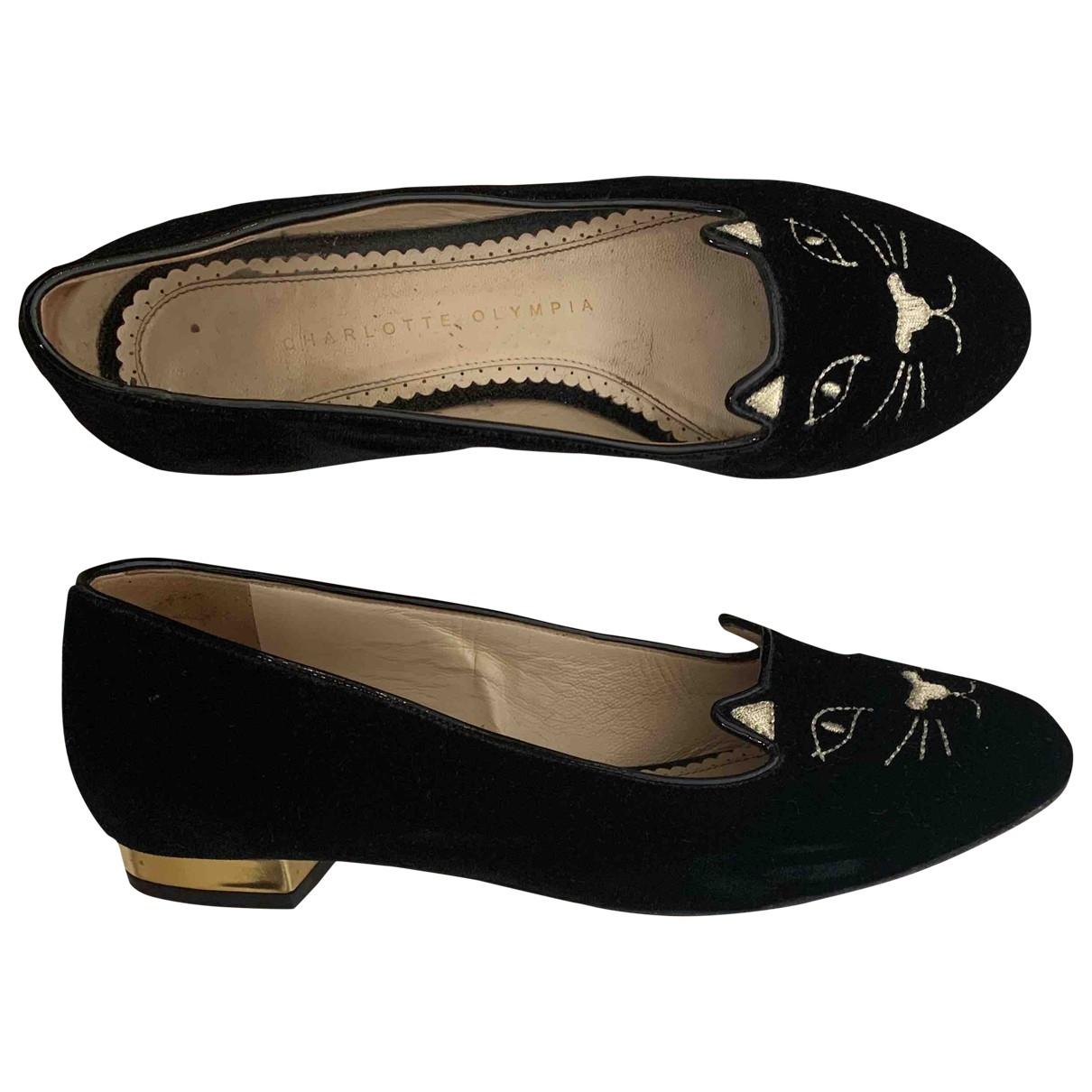 Charlotte Olympia \N Black Velvet Flats for Women 36 EU