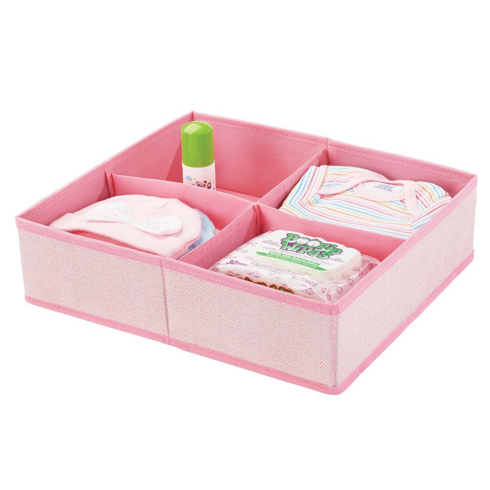 4 Section Kids Fabric Dresser Drawer Organizer in Pink Herringbone, 14