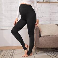 Maternidad leggings de cintura elastica unicolor