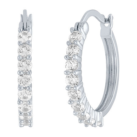 LIMITED TIME SPECIAL! Lab Created White Sapphire 20mm Hoop Earrings in Sterling Silver, One Size , No Color Family