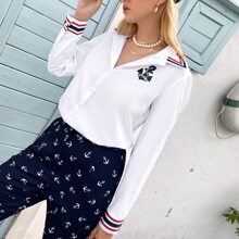 Anchor And Striped Print Button Front Blouse