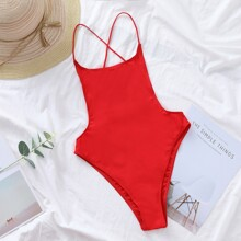 Crisscross Open Back One Piece Swimsuit