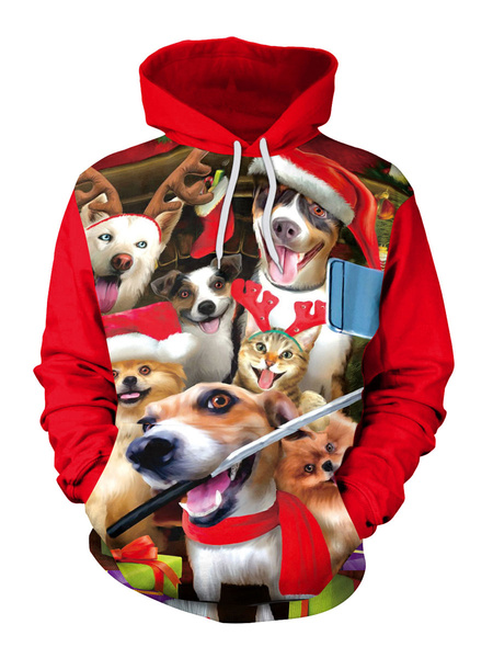Milanoo Christmas Red Hoodie Polyester Fiber Christmas Pattern Stretch Casual Holidays Costumes