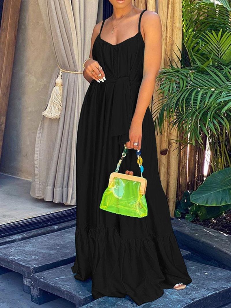 Ericdress V-Neck Sleeveless Floor-Length Spaghetti Strap Expansion Dress