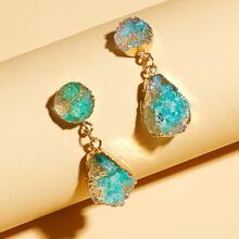 1pair Stone Charm Drop Earrings