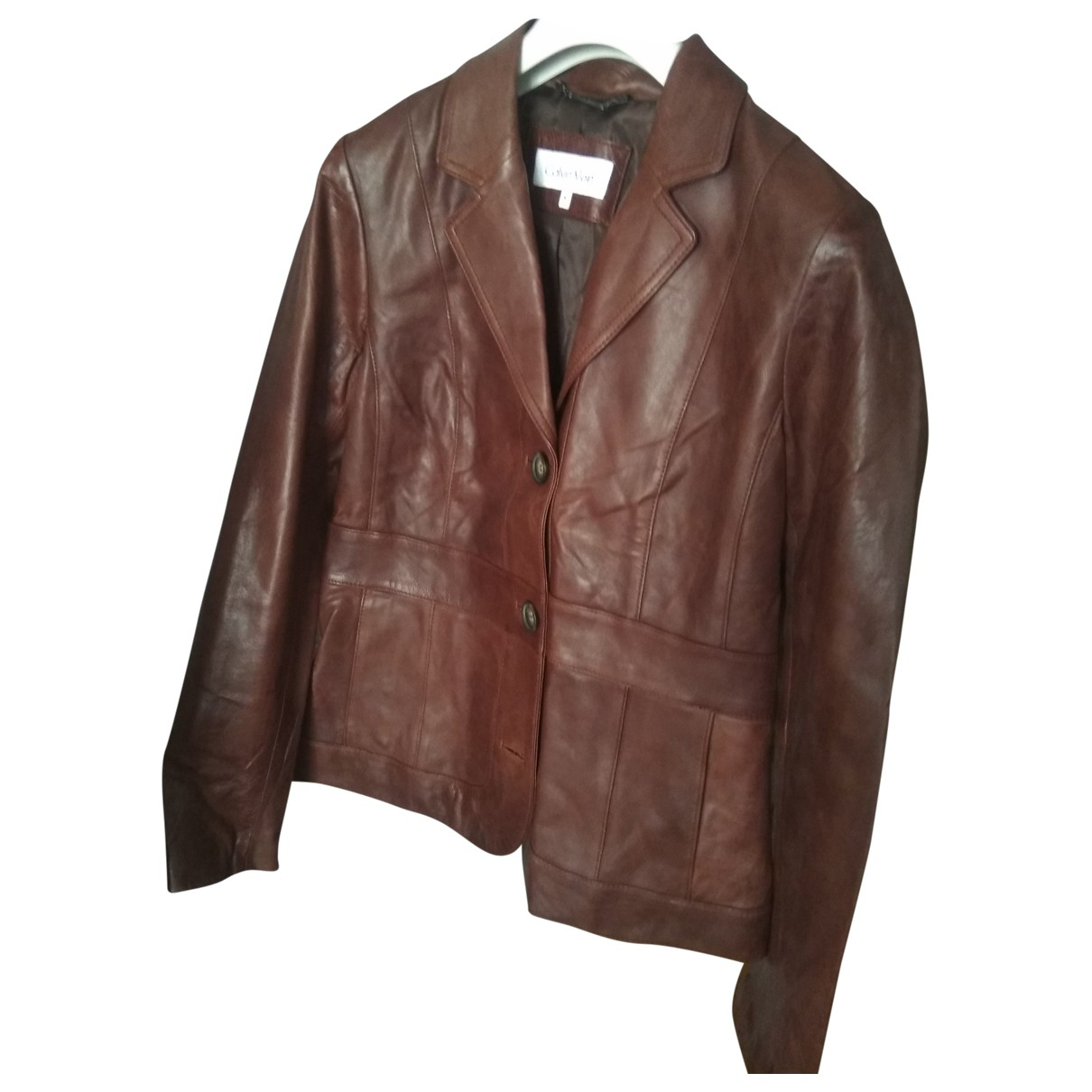 Calvin Klein N Brown Leather jacket for Women M International