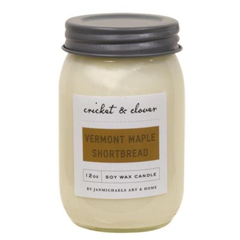 Vermont Maple Shortbread Jar Candle 12oz - White (White)
