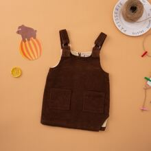 Toddler Girls Corduroy Dual Pockets Pinafore Dress