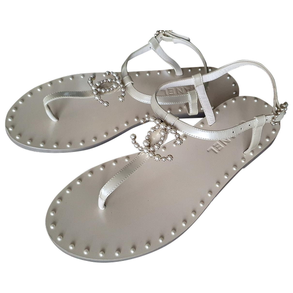 Chanel \N White Leather Sandals for Women 37 EU