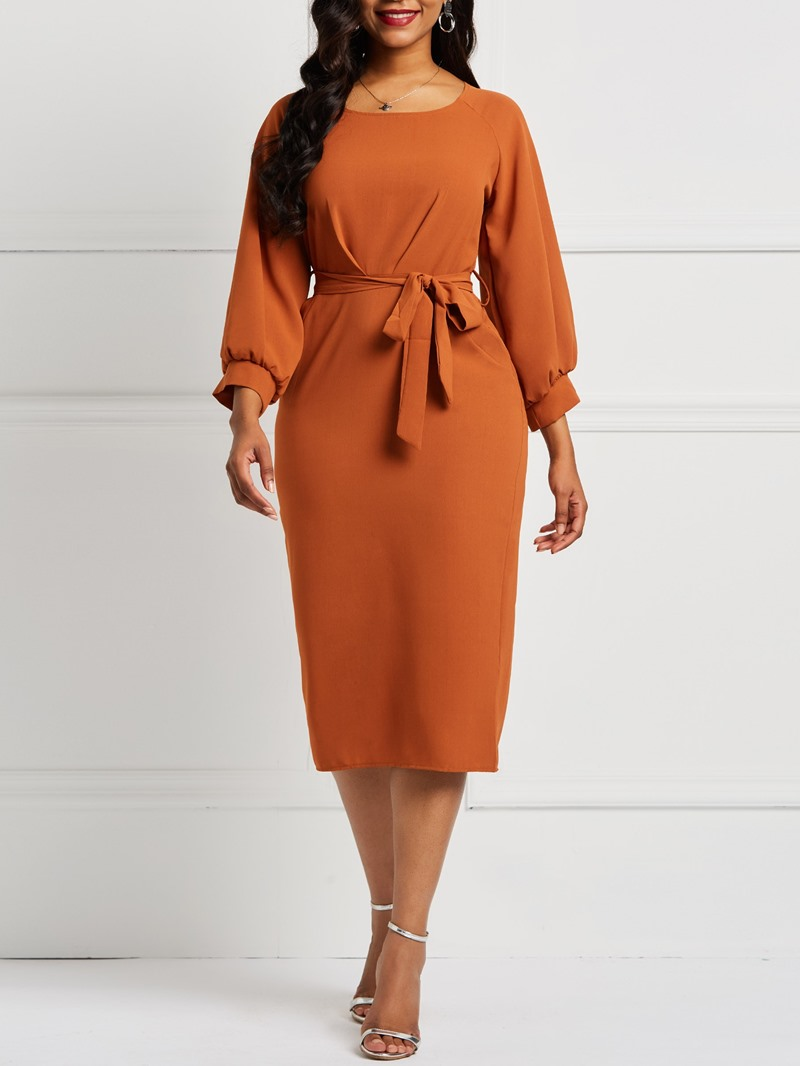 Ericdress Three-Quarter Sleeve Round Neck Lace-Up Plain Elegant Dress