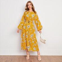 Kleid mit Blumen Muster, Laternenaermeln, Selbstschnalle und Guertel
