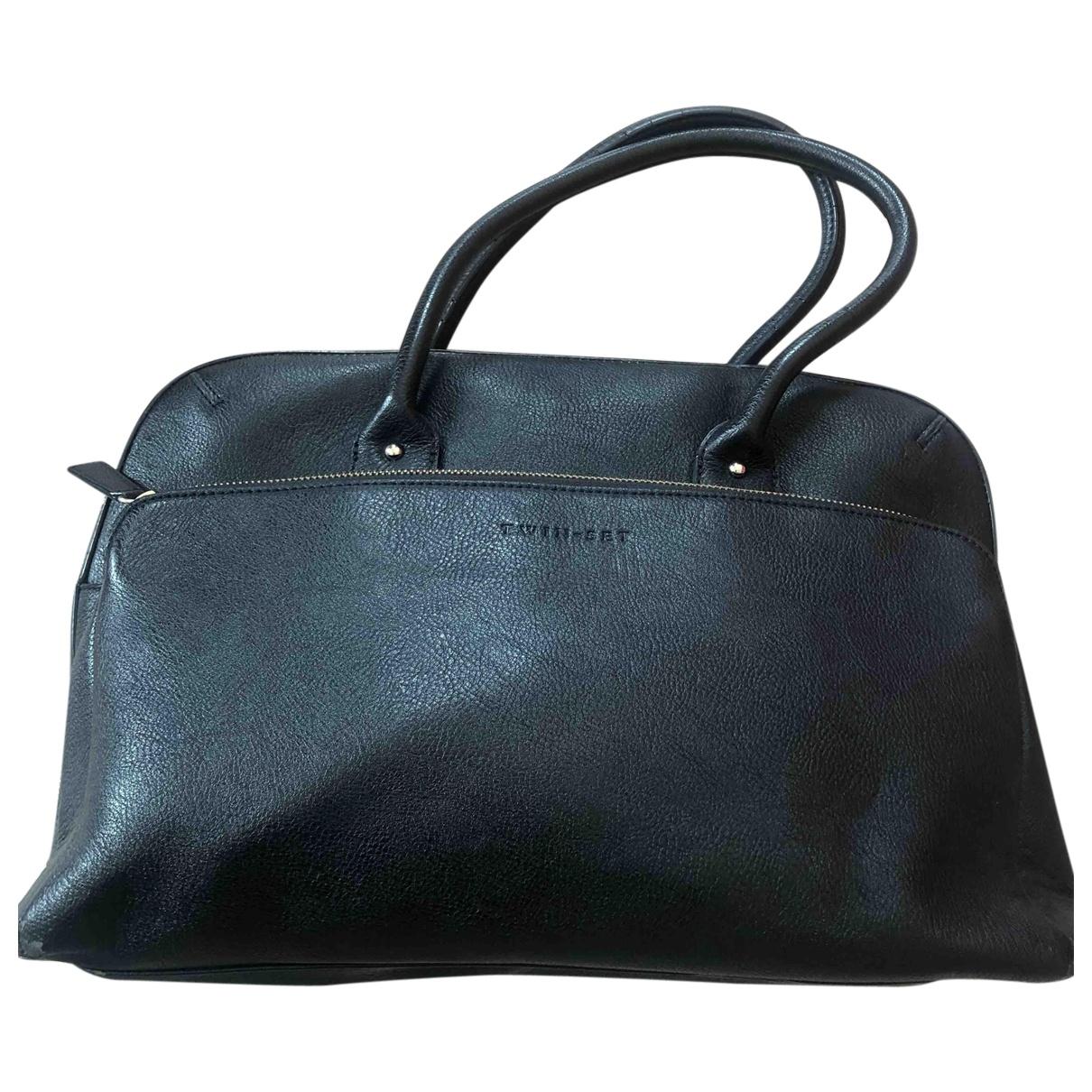 Twin Set \N Handtasche in  Schwarz Leder