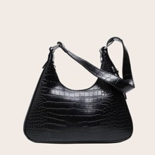 Croc Embossed Shoulder Bag