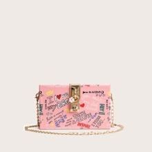 Box Tasche mit Sperren Dekor und Buchstaben Grafik