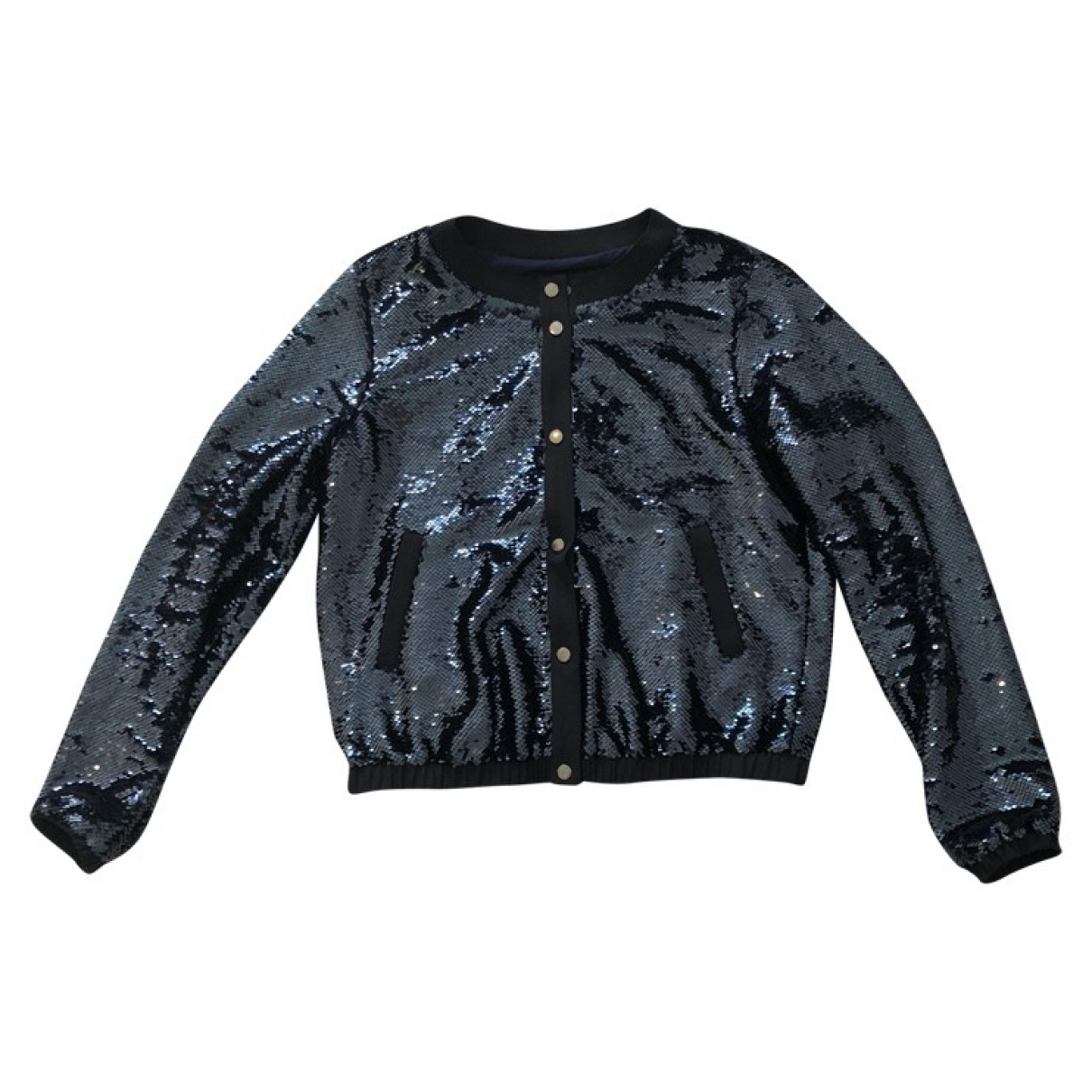 Emporio Armani \N Navy Glitter Leather jacket for Women 44 IT