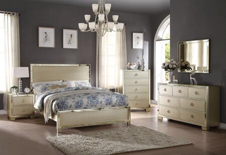 Voeville II Collection 27137EKSET 5 PC Bedroom Set with King Size Bed  Dresser  Mirror  Chest and Nightstand in Champagne