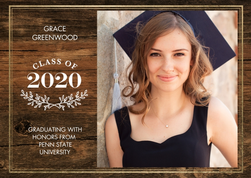 2020 Graduation Announcements Flat Matte Photo Paper Cards with Envelopes, 5x7, Card & Stationery -Grad 2020 Branches by Tumbalina