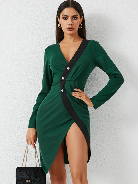 YOINS Green Front Button Patchwork Ruched Deep V Neck Long Sleeves Dress