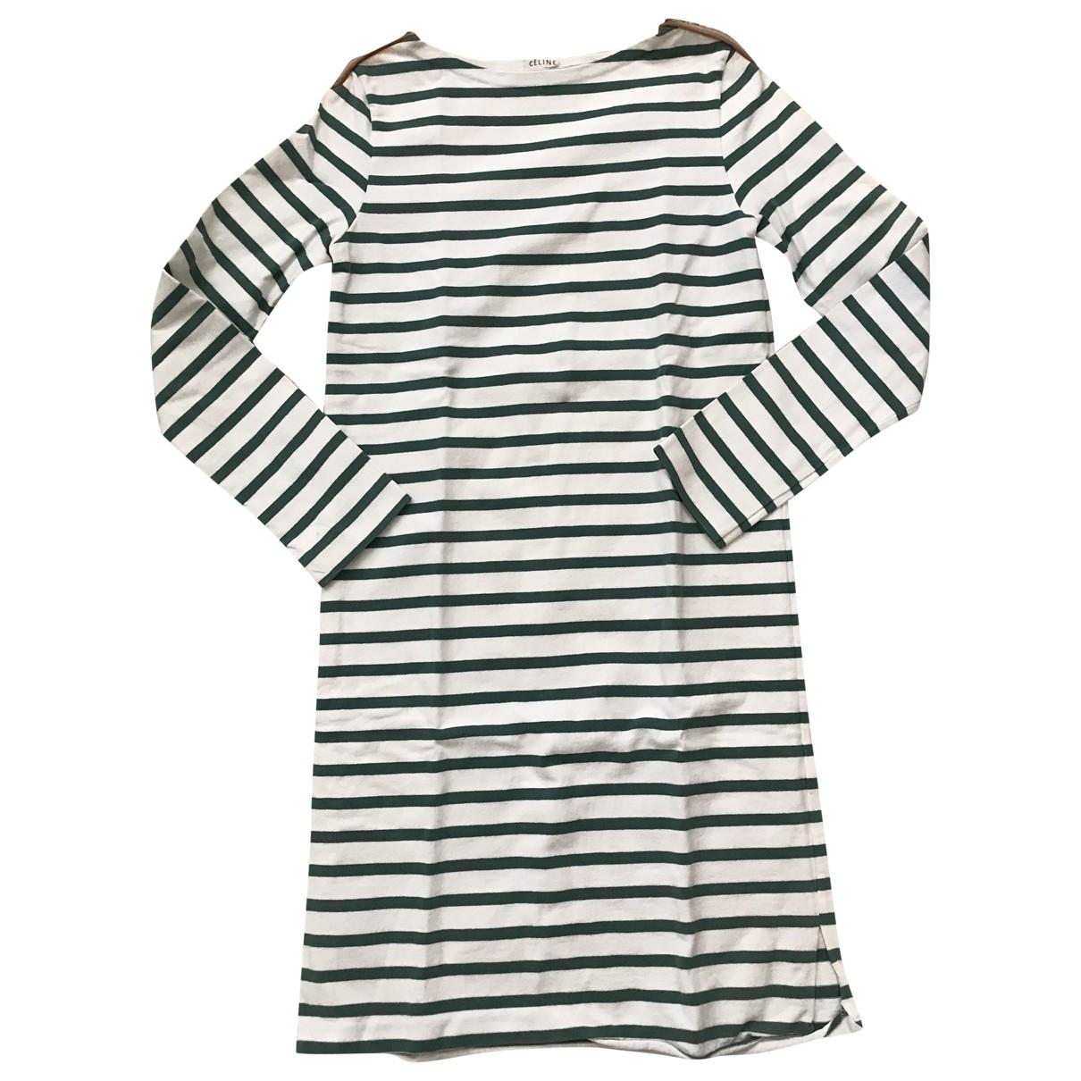 Celine \N Kleid in  Weiss Baumwolle